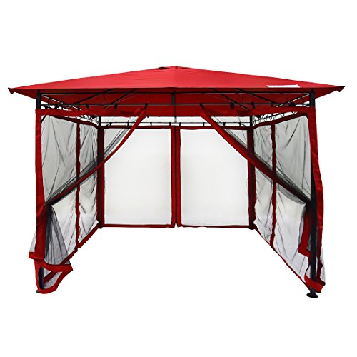 Quictent 10x10 Gazebo with Mosquito Netting Garden Gazebo Metal Soft Top Gazebo Canopy Fully Enclosed for Patio, Deck and Backyard 100% Waterproof (Red) (Of Building Screened Patio In Cost)