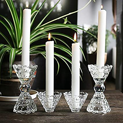 Amazon Com Pettukey H D 4pc Romantic Crystal Clear Candle Holder