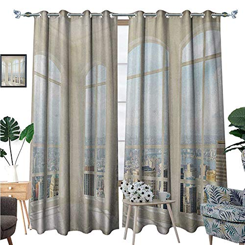 BlountDecor Modern Window Curtain Fabric Big White Contemporary Apartment Flat Overlooking The City Urban View Print Drapes for Living Room W72 x L108 White Baby Blue
