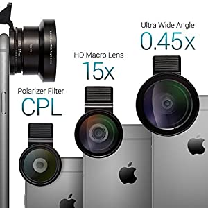 Camera Lens Kit by Zeso | Professional CPL, Macro & Wide Angle Lenses | Multi-use tripod & Selfie Remote Control | For iPhone, Samsung Galaxy, iPads, Tablets | Hard Storage Case & Universal Phone Clip