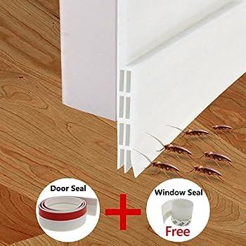 Fixget Door Seal, Under Door Sweep Weather Stripping Door Draft Stopper Door  Bottom Seal Rubber