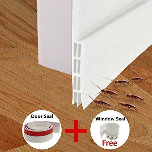 Fixget Door Seal, Under Door Sweep Weather Stripping Door Draft Stopper Door Bottom Seal Rubber Weatherproof Seal + Window Seal for Cracks & Gaps, 1.96 X 39.4 inch, 2 (Replacement Draft Door)