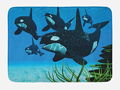(Lunarable Whale Bath Mat, Pod of Killer Whales Swim Along a Reef Looking for Fish Prey Ocean Picture Print, Plush Bathroom Decor Mat with Non Slip Backing, 29.5 W X 17.5 W Inches, Sky Blue Green)