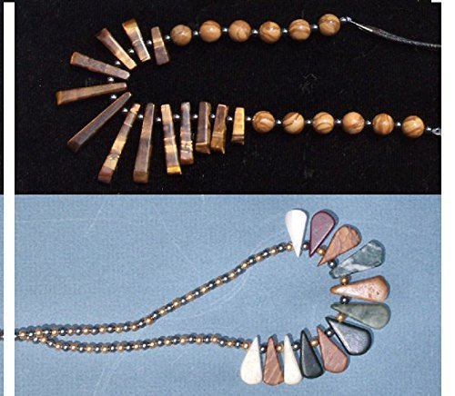 [SALE 2 Necklaces Price of ONE. Tiger Eye Fan Pendant Necklace with Hematite, Wood Fossil Jasper & Natural Stone Graduated Necklaces!] (Fossil Hematite Necklace)