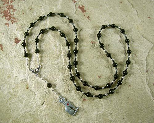 Bast (Bastet) Prayer Bead Necklace in Black Onyx: Egyptian Goddess of Love, Joy, Music