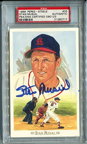 1989 Stan Musial Signed Perez Steele Postcard #33. PSA Authentic