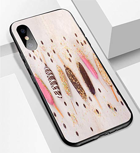iPhone X/XS Ultra-Thin Phone case Ice Cream Sticks with Chocolate Fruit Roasted Almonds and Colourful Sugar Sprinkles Anti-Drop Anti-Slip Soft Convenient Protective Shell