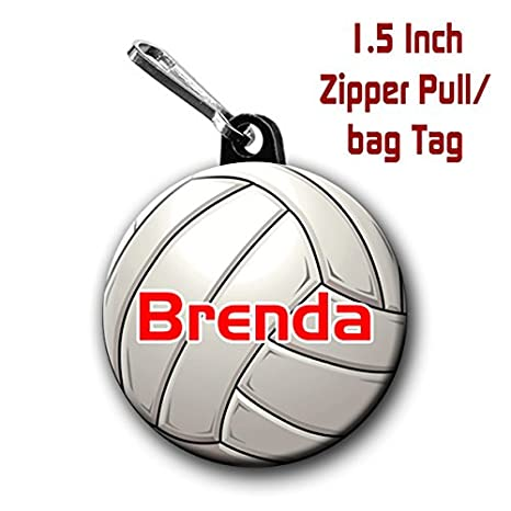 Two Volleyball Zipper Pull Bag Tags 1 5 Inch Charms Personalized With Name