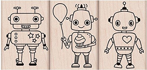 Hero Arts Woodblock Stamp, Set Robot Trio (Scrapbooking Art Retro Paper)