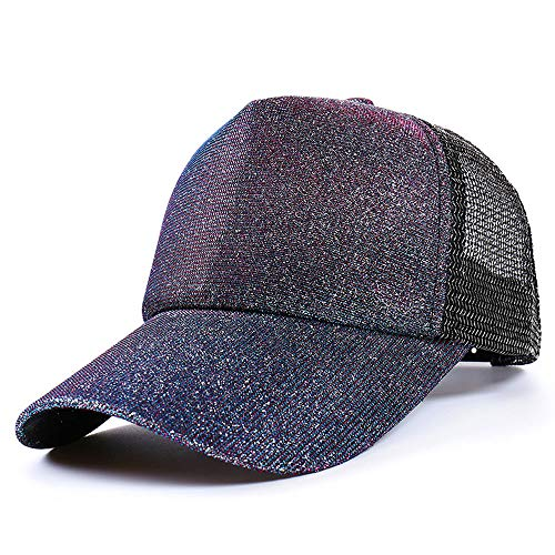 Glitter Baseball Cap Sequins Mesh Trucker Baseball Cap Snapback Hat Sun Caps for Women Girl Purple