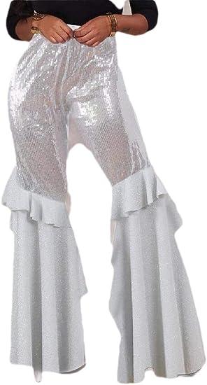 gawaga レディース ハイ ウエスト ソリッド カラー スパンコール フリル フレア フィット パンツ ワイド レッグ パンツ パンツ