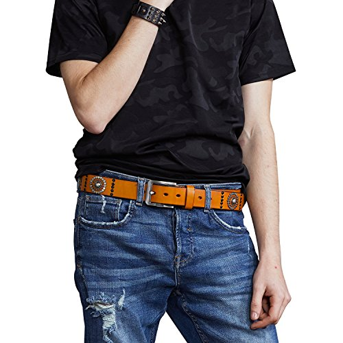 Fioretto Mens Belts Vintage Italian Cowhide Leather Pin Buckle Belts Black Mens Belt Studded Rivets Belt Plus Size For Jeans Punk Rock Style Mens Gifts 36