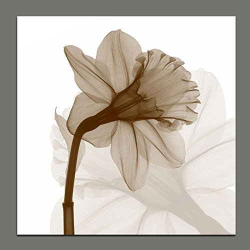Wieco Art Modern Gallery wrapped Artwork Contemporary Floral Giclee Canvas Prints Brown Flickering Flowers Pictures Paintings on Canvas Wall Art for Bedroom Kitchen Home Decorations, 20 by - Brown Wall Art