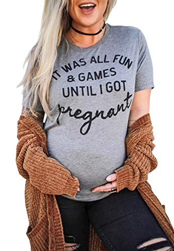 Pregnancy Announcement Shirt It was All Fun and Games Until I Got Pregnant Shirt Maternity Cute Casual Short Sleeve Tee Size L (Gray)