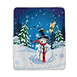 60 inch snow broom - Wamika Merry Christmas Throw Blanket Home Decor, Super Soft Lightweight Snowman Broom Snowflake Night Fleece Warm Blankets for Couch Bed Chair Office Sofa Travelling Camping, 50x60 Inch