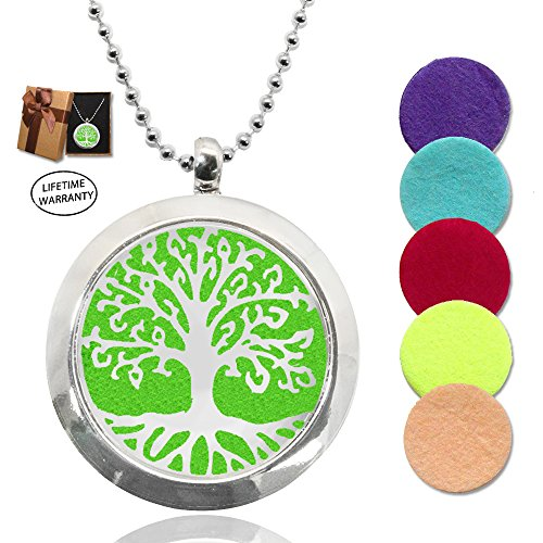 DIYJewelryDepot Stainless Steel Locket Pendant Love Necklaces w/ 5 Pcs Aromatherapy Essential Oil Diffuser Pads (Tree of Life) (Carol Drink Water)