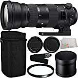 Sigma 150-600mm f/5-6.3 DG OS HSM Sports Lens for Nikon F with Manufacturer Accessories + UV Filter + Shoulder Strap + Microfiber Cleaning Cloth