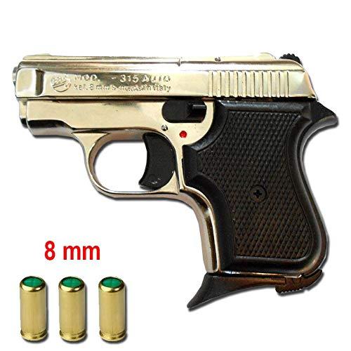 Pistolet Blancs en MÉTAL 315 Baby 8 MM Nickel 0.4 Joule- BR-315N.8 1