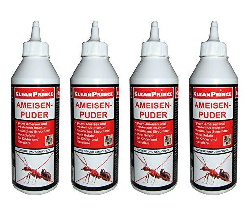 CleanPrince 4 Stück Set Ameisenpuder Ameisen-Puder 500 ml Silberfische Insekten Milben Küchenschaben Kellerasseln Insektenpuder Ameisenmittel Köder Ex - ungiftig für Menschen Haustiere biologisch