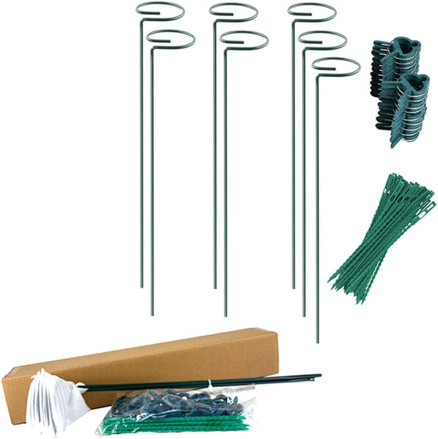 Plant Support Sticks Set with 7 Flower Stakes(15.8 inch), 20 Plant Support Clips and 20 Plants Twist Ties