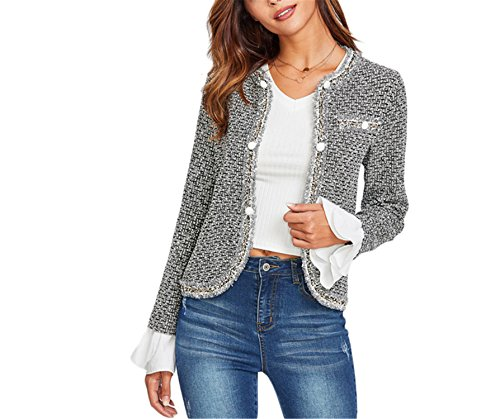 Saneoo Contrast Ruffle Cuff Curved Tweed Blazer Women Collarless Single Breasted Fitted Office Lady Elegant Work Blazer Black S