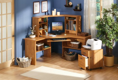 South shore furniture prairie collection corner desk country pine corner desks - Pine corner desks ...