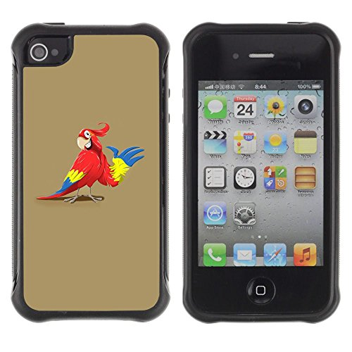 Apple Iphone 4 / 4S - Parrot Animation Drawing Art Red Colorful Cartoon