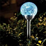 Solalite® 6 x Stainless Steel Colour Changing Solar Crackle Ball Light Ice Orb Globe