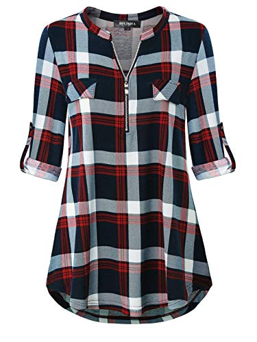 Plaid Tunic Tops for Women, Ladies Oversized Plaid Shirts Cuffed Sleeve Blouse Maternity Shirt A Line Baggy Bottom Soft Comfy Stretchy Pullover Styling with Zipper (XXL, Red2)