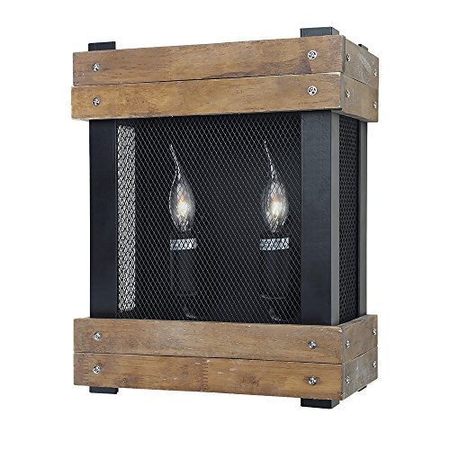 (LNC A02960 Rustic Wood Lamp 2 Indoor Lighting Wall Sconces,)