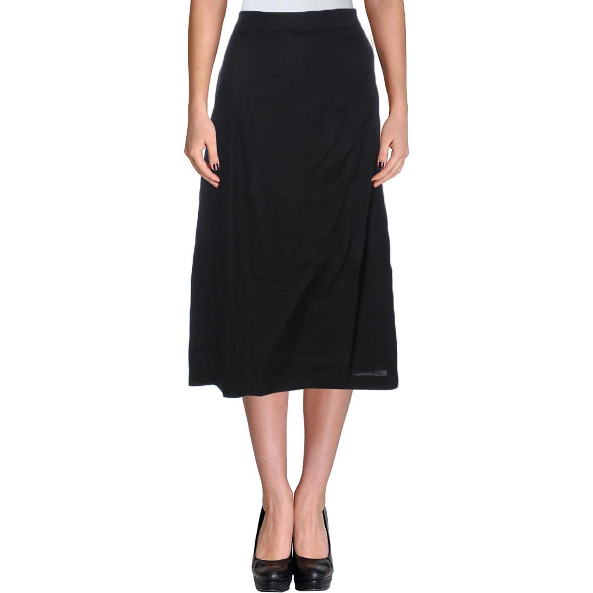 Eileen Fisher Womens Linen Faux-Wrap A-Line Skirt Black M by Eileen Fisher