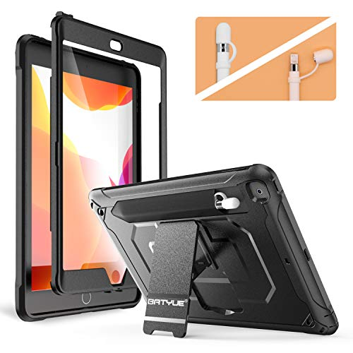 BATYUE New iPad 10.2 2019 Case with Screen Protector, Full-Body Heavy Duty Shockproof Protective Cover w/Built-in Stand + Pencil Holder + Pencil Cap Holder for Apple iPad 7th Generation 10.2'' (Black)