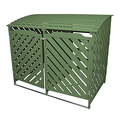 Wooden Bin Store Double with Chain Lid