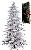 7'6'' Flocked Bavarian Pine, Artificial Prelit White Christmas Tree - Clear Lights Stay on if Bulb Burns Out! Natural Looking with Real-Like-Snow Color - Top Choice for Designers, Includes Storage Bag
