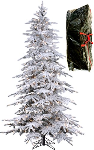 7'6'' Flocked Bavarian Pine, Artificial Prelit White Christmas Tree - Clear Lights Stay on if Bulb Burns Out! Natural Looking with Real-Like-Snow Color - Top Choice for Designers, Includes Storage Bag by Fine Expectations