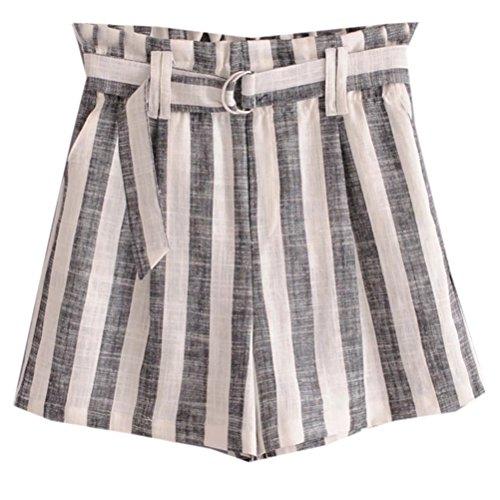 FuweiEncore Femme Shorts de Loisir Imprim aux Rayures Mini Pantalons avec Corde pour Et Gris