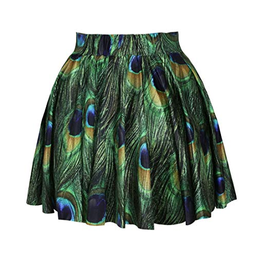 Shiny Peacock Feathers Skater Skirt Fashion Printed Stretchy Mini Skirt,Peacock,One Size ()
