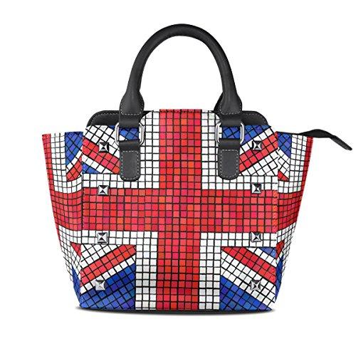 Coosun Women Uk Union Jack Flag Mosaic Pu Leather Shoulder Bag Top Handle Tote Bag Crossbody Bag Middle Multicolor