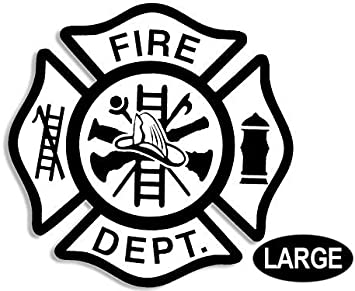 "10-Pack White Fire Department Graphic Firefighter Logo Window Decal 5/"" x 5/"""