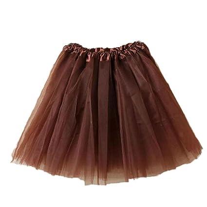 8b9b2eb2ce LuckyGirls Faldas de Baile de Mujer Tul Cintura Elástica Casual Vestidos de  Fiesta Mini (Talla