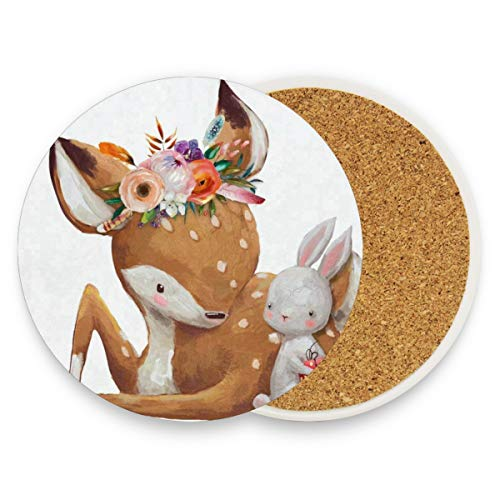 LoveBea Cute Fawn and Rabbit Coasters, Prevent Furniture from Dirty and Scratched, Round Cork Coasters Set Suitable for Kinds of Mugs and Cups, Living Room Decorations Gift 1 Piece
