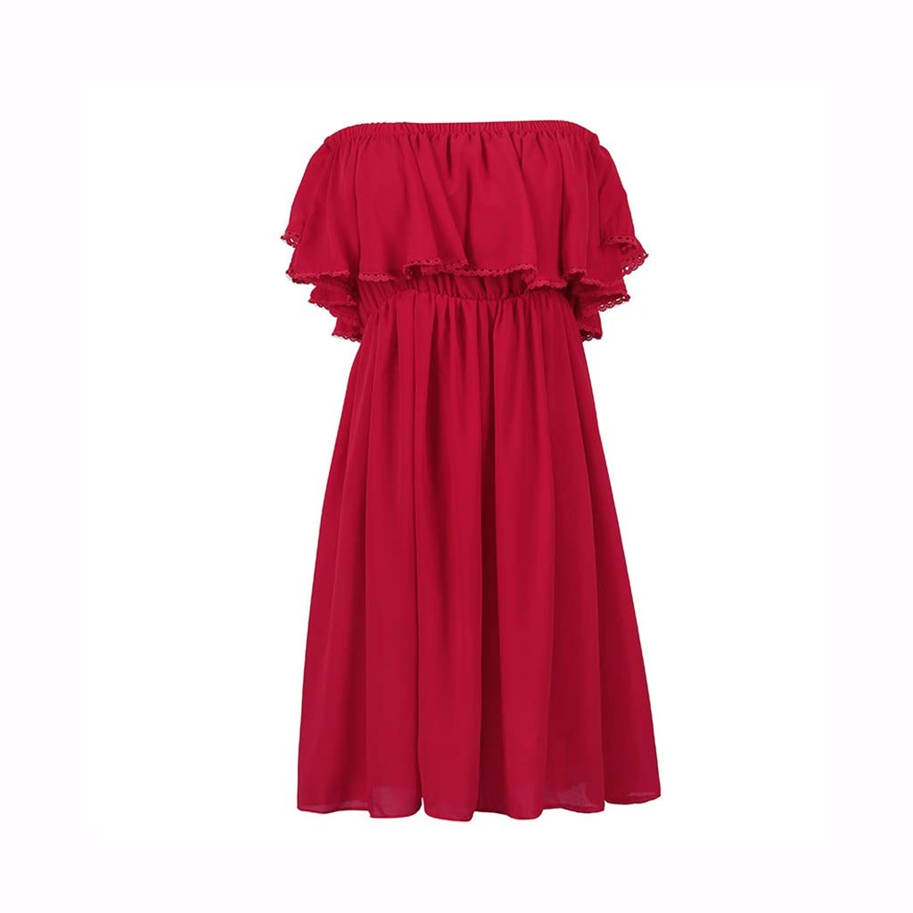 Red Clothing & Accessories Women Dresses Casual Ladies Beach Skirt Red Dress Summer Seaside Skirt Pool Party Dress Evening Dress Night Dress (color   Red, Size   L)