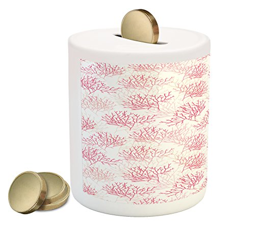 Shallow Bank (Coral Piggy Bank by Lunarable, Shallow Water Elements with Tentacles and Polyps Large Reefs Leafless Branch Design, Printed Ceramic Coin Bank Money Box for Cash Saving, Pink White)