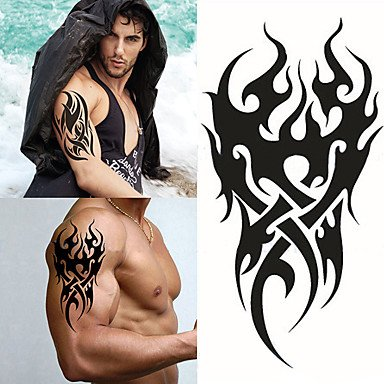 WST 1 pcs High Men's Temporary Tattoo Waterproof Totem Body Arm Leg Art Stickers Removable