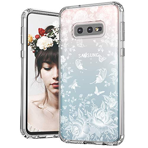 (MOSNOVO Galaxy S10e Case, White Roses Garden Floral Flower Pattern Printed Clear Design Transparent Plastic Back Case with TPU Bumper Protective Case Cover for Samsung Galaxy S10e)