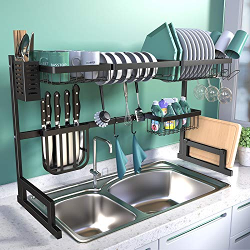 BASSTOP Over The Sink Dish Drying Rack, 2-Tier Dish Rack Width Adjustable Dish Drainer for Kitchen Organization Storage…