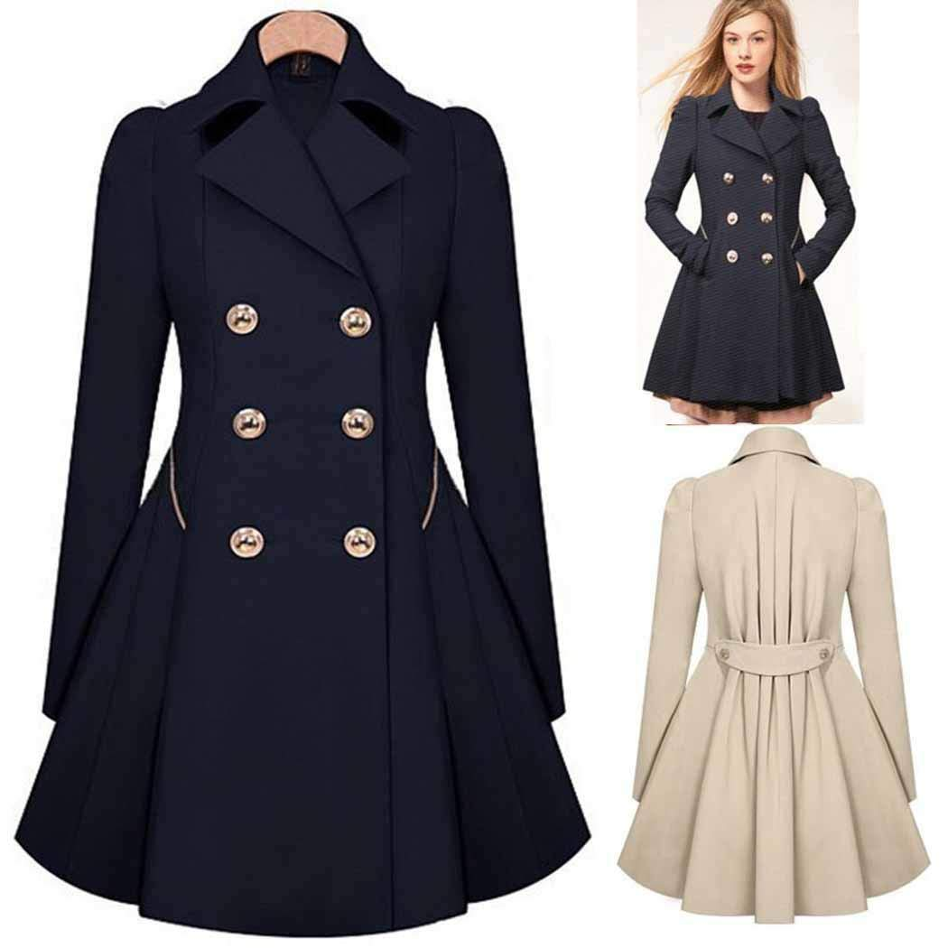 Hello22 Women Classic A Line Double-Breasted Trench Coat with Collar Plus Size