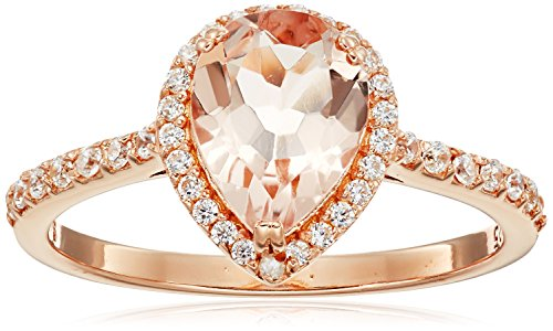 Rose Gold Plated Silver Morganite Pear shape Cubic Zirconia Accents Ring, Size 7