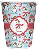 RNK Shops Christmas Penguins Waste Basket - Double Sided (White) (Personalized)