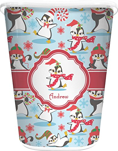 RNK Shops Christmas Penguins Waste Basket - Double Sided (White) (Personalized) by RNK Shops